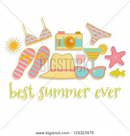Summer illustration with summer icons isolated. Easy to recolor.