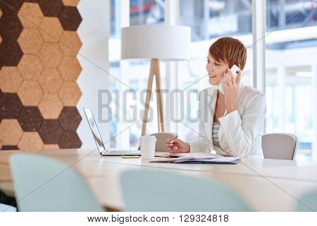 Pretty young businesswoman with a modern short hairstyle, sitting at a desk in a bright office space with her laptop and paperwork, talking on her mobile phone