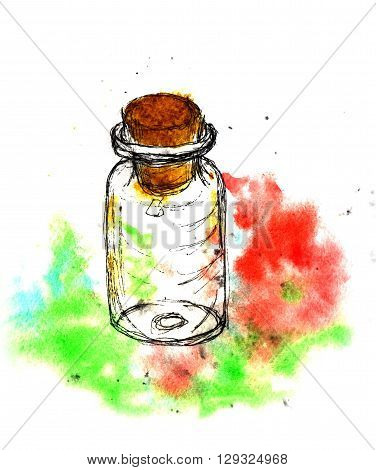 Small bottle with a stopper cork. Hand drawing watercolor and ink