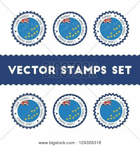 I Love Tuvalu Vector Stamps Set. Retro Patriotic Country Flag Badges. National Flags Vintage Round S