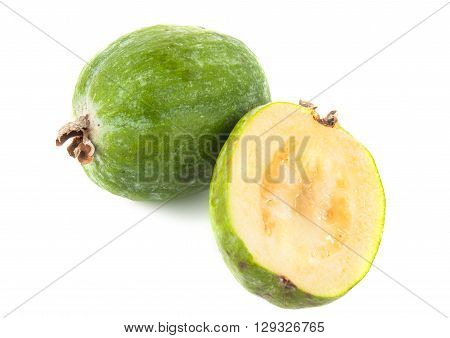 Feijoa isolated on white background, group, guava