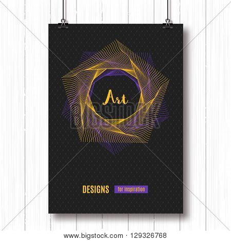 Modern colorfull geometric polygonal posters A4. Pentagon line art design. Vector geometric polygonal elements. Abstract background, geometric shapes 3d, typography logo. Futuristic technology concept