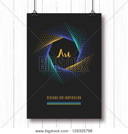 Colorfull modern poster A4, pentagon halftone art design, vector logo. Geometric polygonal elements, shapes 3d, typography logo. Futuristic technology style halftone abstract background