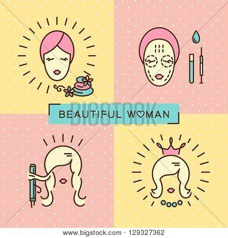 Beauty banner, Beautiful woman set line icon art, flat design, Beautiful woman face, beauty salon spa, fashion, cosmetics, makeup. Vector illustration