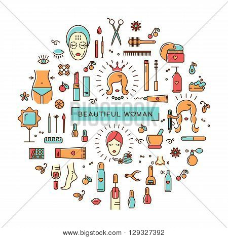 A set of colorful line icons on a theme: beauty, cosmetics, hairdressing salon, spa salon, cosmetology. Icons in the modern linear style vector arranged in a circle. The concept for a brochure, flyer