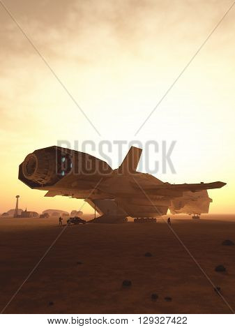 Science fiction illustration of an interplanetary spaceship unloading cargo at sunset on a desert planet, 3d digitally rendered illustration (3d rendering, 3d illustration)