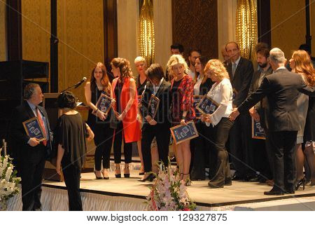 ANKARA/TURKEY-MAY 3, 2016: Participants and sponsors at the stage of JW Marriott Hotel during the 20. International Ankara Jazz Festival. May 3, 2016-Ankara/Turkey