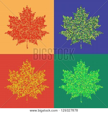 Set of colorful maple leaves on isolated background. Halftone design elements, graphics autumn background, colorful dots background vector illustration