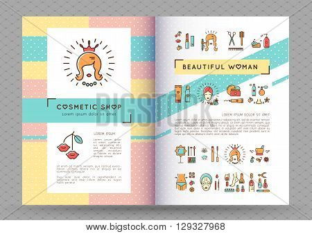 Beauty banner Cosmetic brochure catalog Beautiful woman. Flyers or leaflets on the theme: cosmetology spa hairdresser manicure and pedicure. Vector illustration