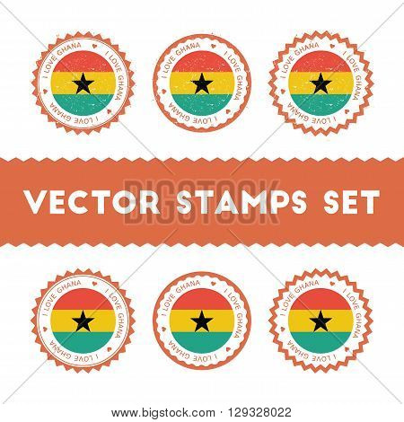 I Love Ghana Vector Stamps Set. Retro Patriotic Country Flag Badges. National Flags Vintage Round Si