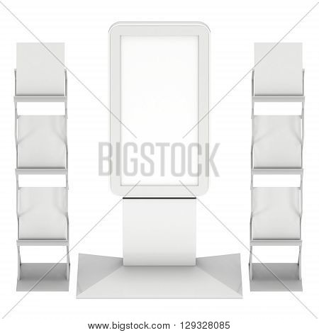 LCD TV Stand. Blank Trade Show Booth. 3d render of lcd tv isolated on white background. High Resolution ad template for your expo design.