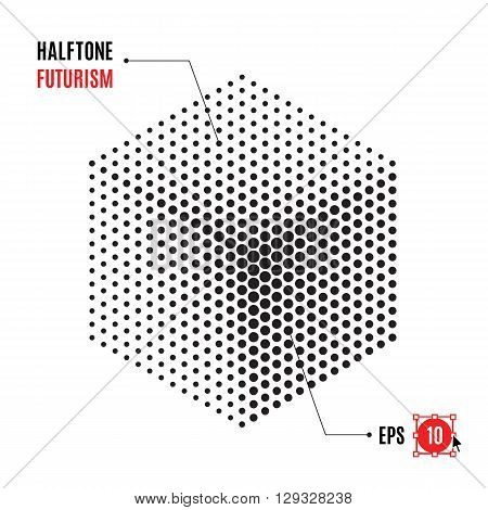Halftone cube, futuristic background. Abstract element of the points for the logo, posters, banners, leaflets, flyers, presentations, Web site