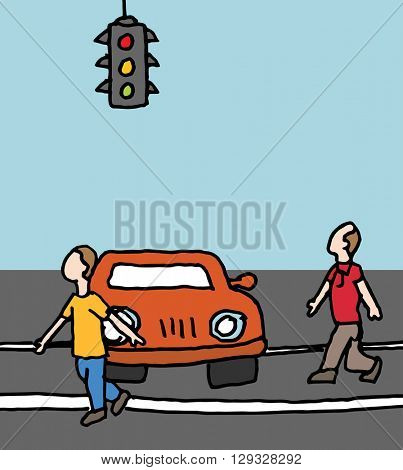 An image of a car blocking a crosswalk.