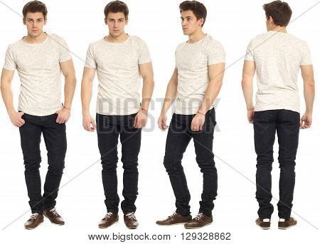 Full Length Portrait Of Handsome Man In Jeans Isolated