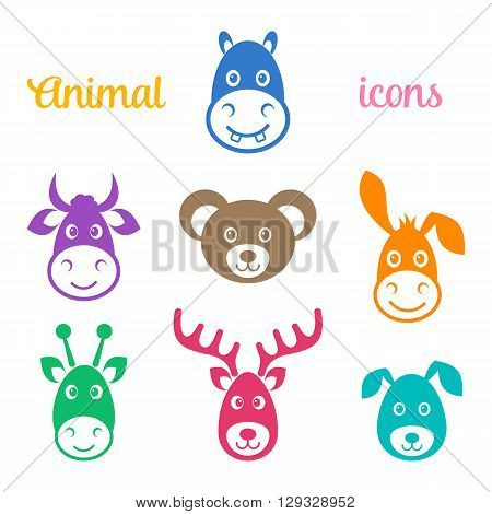 Colorful vector animal face icons isolated on white