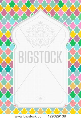 Cover, card, invitation with arch in the Arabic style with bright mosaics and emblem