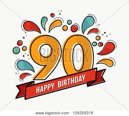 Colorful Happy Birthday Number 90 Flat Line Design