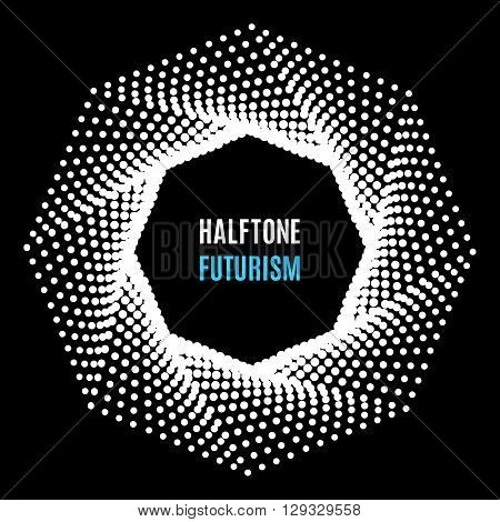 Futuristic technology style halftone background. Octagon of the points for the logo, posters, banners, leaflets, flyers, presentations, Web site. White on black background vector illustration