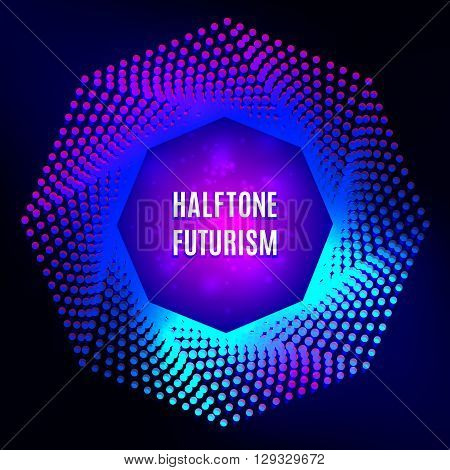 Light frame Futuristic technology style halftone design elements, logo, halftone background for your flyers and banners. Colorful poster: halftone futurism vector illustration