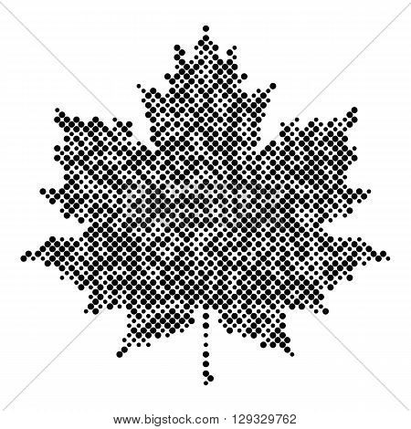 Maple leaf isolated halftone design elements, graphics autumn background, halftone logo, icon. Black on white dots vector texture
