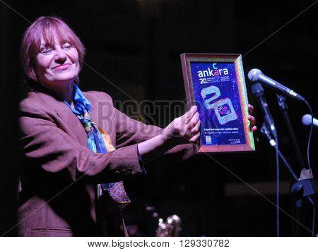ANKARA/TURKEY-MAY 8, 2016:  Jazz musician Yildiz Ibrahimova at the stage of Sinpas Altin Oran Square during the 20. International Ankara Jazz Festival plaque ceremony. May 8, 2016-Ankara/Turkey