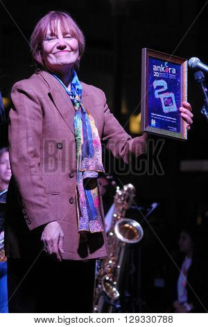 ANKARA/TURKEY-MAY 8, 2016:  Jazz musician Yildiz Ibrahimova at the stage of Sinpas Altin Oran Square during the 20. International Ankara Jazz Festival plaque ceremony. May 8, 2016-Ankara/Turkey