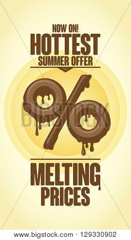 Melting prices, hottest summer offer vector design