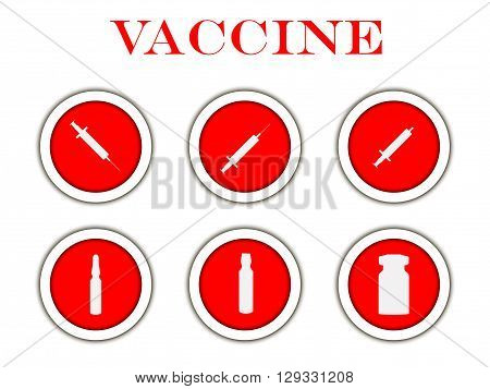 Syringe and vials. Syringe and ampules. Vaccine. Set round icons with shadow. Vector.