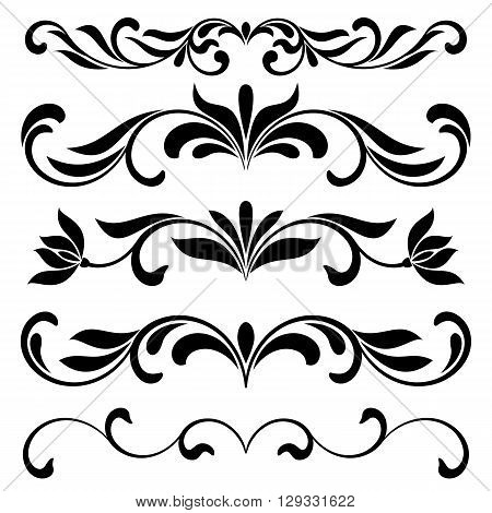 Borders Decorative Vignette Elements Set Isolated On White For The Decoration Of The Text