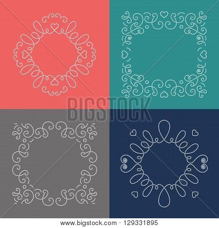 Rope frames, decorative frame in nautical style. Elegant frame from marine rope for your brochures, invitations, wedding cards, posters, banners, leaflets, flyers, web. Vector illustration