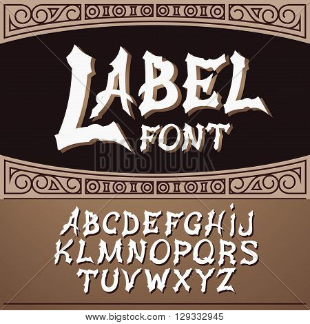 Vector label font, modern style.  Whiskey label style