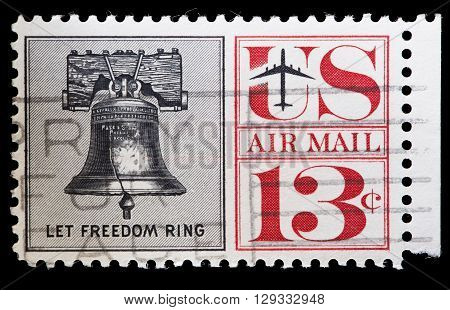 United States Used Postage Stamp Showing The Liberty Bell