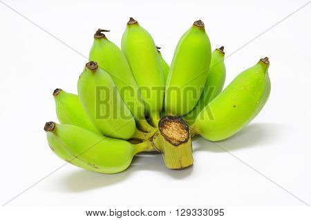 One raw pisang awak comb. On white background.