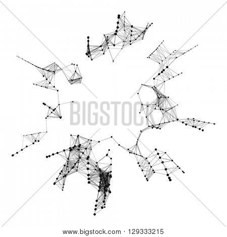 3D Connection Structure. Futuristic Technology Style. Vector illustration for Science, Chemistry or Education.