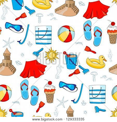 Tropical vacation, summer holidays, sea and beach. Pastime for children. Seamless pattern for summer design.