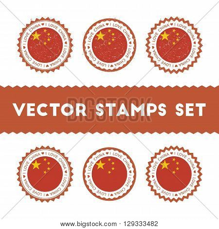 I Love China Vector Stamps Set. Retro Patriotic Country Flag Badges. National Flags Vintage Round Si
