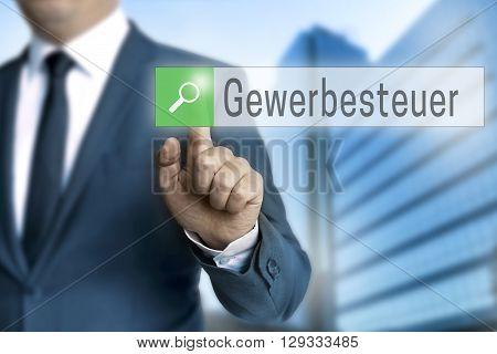 Gewerbesteuer (in German Trade Vat) Browser Is Operated By Businessman