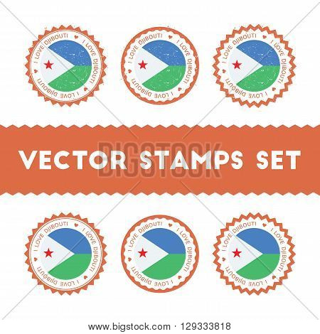 I Love Djibouti Vector Stamps Set. Retro Patriotic Country Flag Badges. National Flags Vintage Round