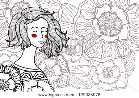 Vector illustration zentangl, doodle portrait of a woman, a girl in a in flowers. Coloring book anti stress for adults. Black and white.