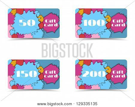 Beautiful Gift Card. Collection Of Gift Cards. Shopping Gift Card. Vector.