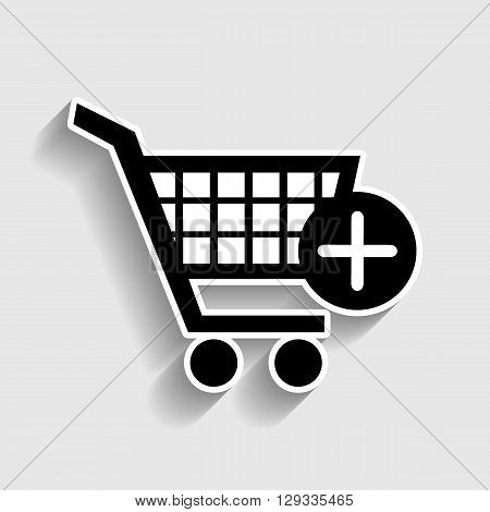 Shopping Cart and add Mark Icon. Sticker style icon with shadow on gray.