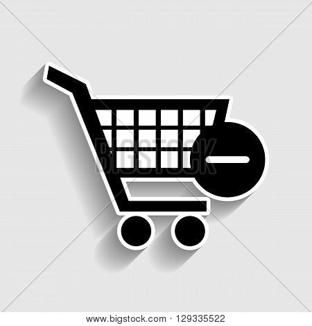 Vector Shopping Cart Remove from Cart Icon. Sticker style icon with shadow on gray.