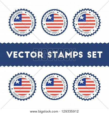 I Love Liberia Vector Stamps Set. Retro Patriotic Country Flag Badges. National Flags Vintage Round