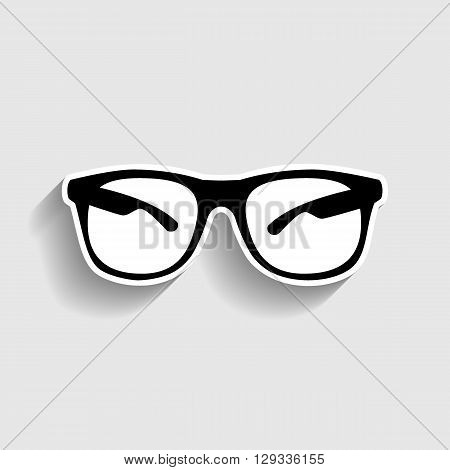 Sunglasses sign. Sticker style icon with shadow on gray.