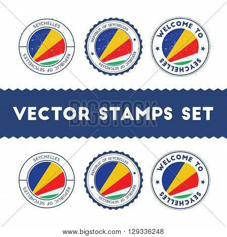 Seychellois Flag Rubber Stamps Set. National Flags Grunge Stamps. Country Round Badges Collection.