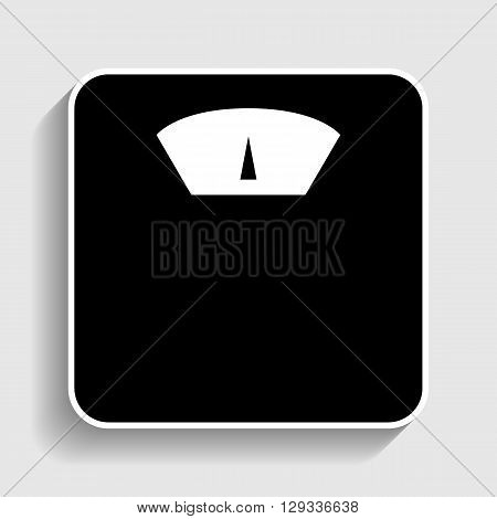 Bathroom scale sign. Sticker style icon with shadow on gray.