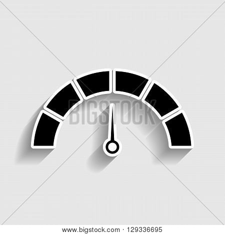 Speedometer sign. Sticker style icon with shadow on gray.