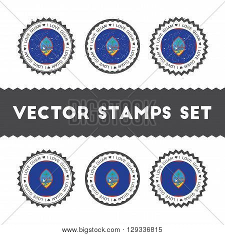 I Love Guam Vector Stamps Set. Retro Patriotic Country Flag Badges. National Flags Vintage Round Sig