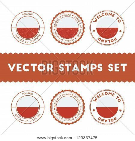 Polish Flag Rubber Stamps Set. National Flags Grunge Stamps. Country Round Badges Collection.