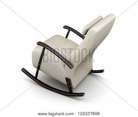 Leather rocking chair isolated on white background. 3d rendering.